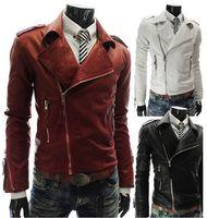 2017 Slim en cuir PU veste manteau Personnalisé Multi Zipper/Hommes Slim en cuir grand revers court paragraphe