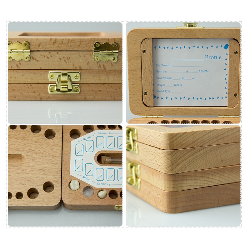 Tooth Box Organizer For Baby Save Milk Teeth Wood Storage Box Great Gifts 3-6 Years Creative For Kids English
