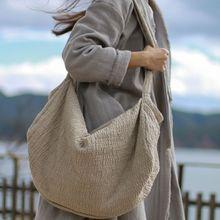 Новое поступление, женские хлопковые сумки через плечо, Винтажные льняные сумки ручной работы, большие повседневные сумки, большая тканевая Индивидуальная сумка
