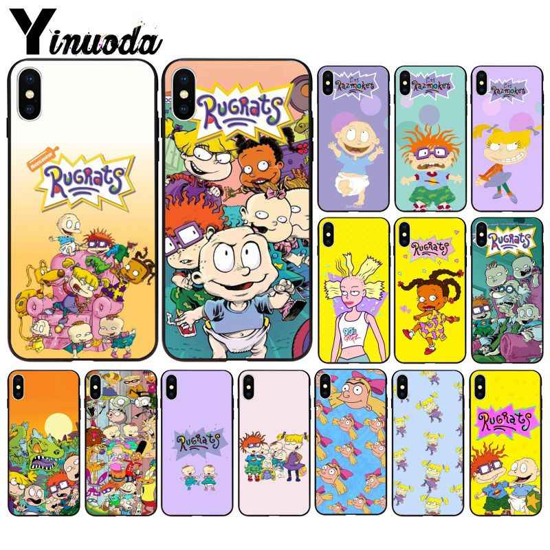 Yinuoda Rugrats TPU Soft Silicone Black Phone Case for iPhone 6S 6plus 7 7plus 8 8Plus X Xs MAX 5 5S XR