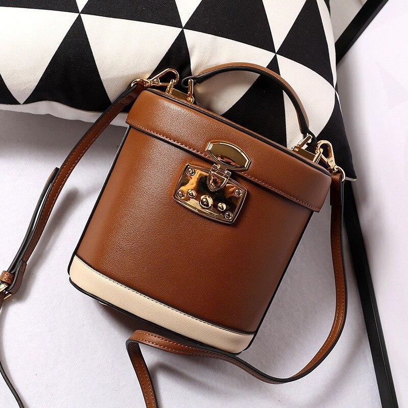 Offre spéciale Split cuir sacs sacs à main femmes Vintag sac tronc fourre-tout sac à bandoulière dames de haute qualité marque boîte seau sac