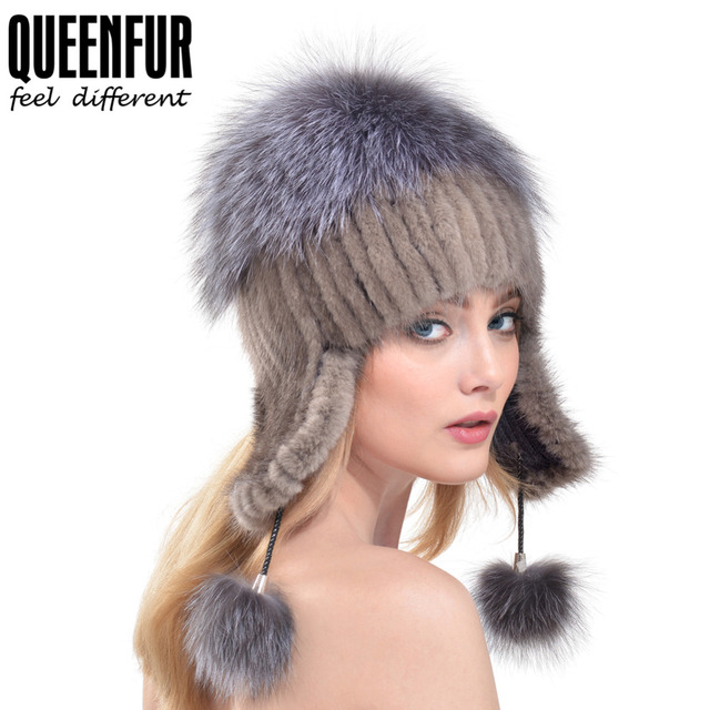 QUEENFUR Women Ear Erotector Bomber Hat For Girls Real Knitted Mink Fur Caps With Silver Fox Fur Winter Warm Earmuffs Beanies