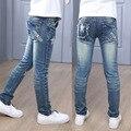 Джинсы для девочек высокое качество джинсовые брюки для девочки осень весна детская одежда для девочек звезда шаблон письмо брюки