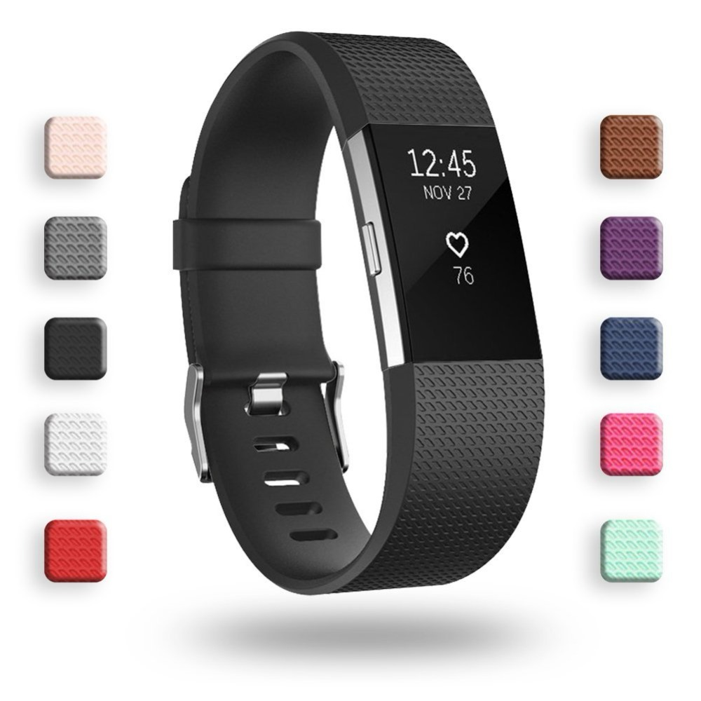 Soft Silicone Watch Strap for Fitbit Charge 2 Replacement