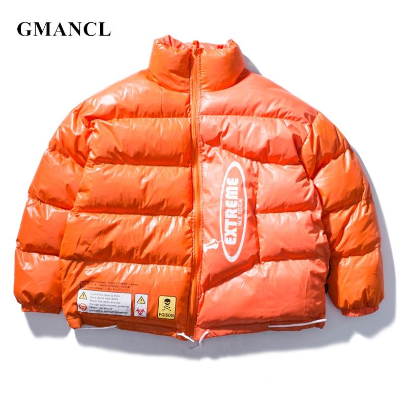 Men Russia Winter Very Thick Warm Oversized Parkas Jacket Trend Shiny Color Streetwear Hip Hop Printed Windproof Coat Outwear Ho