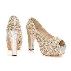 Image 4 - S apato Femininoขนาดใหญ่รองเท้าส้นสูงรองเท้าผู้หญิงปั๊มสุภาพสตรีC Haussure F Emmeกรงเล็บZ Apatos Mujer Tacones Sapatos Femininos F12