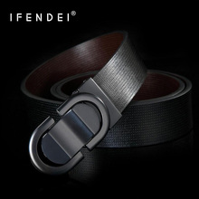 IFENDEI Genuine Leather Belt For Men Casual Smooth Buckle Belts Male Cow Skin Waist Gold Silver Plate Black Strap