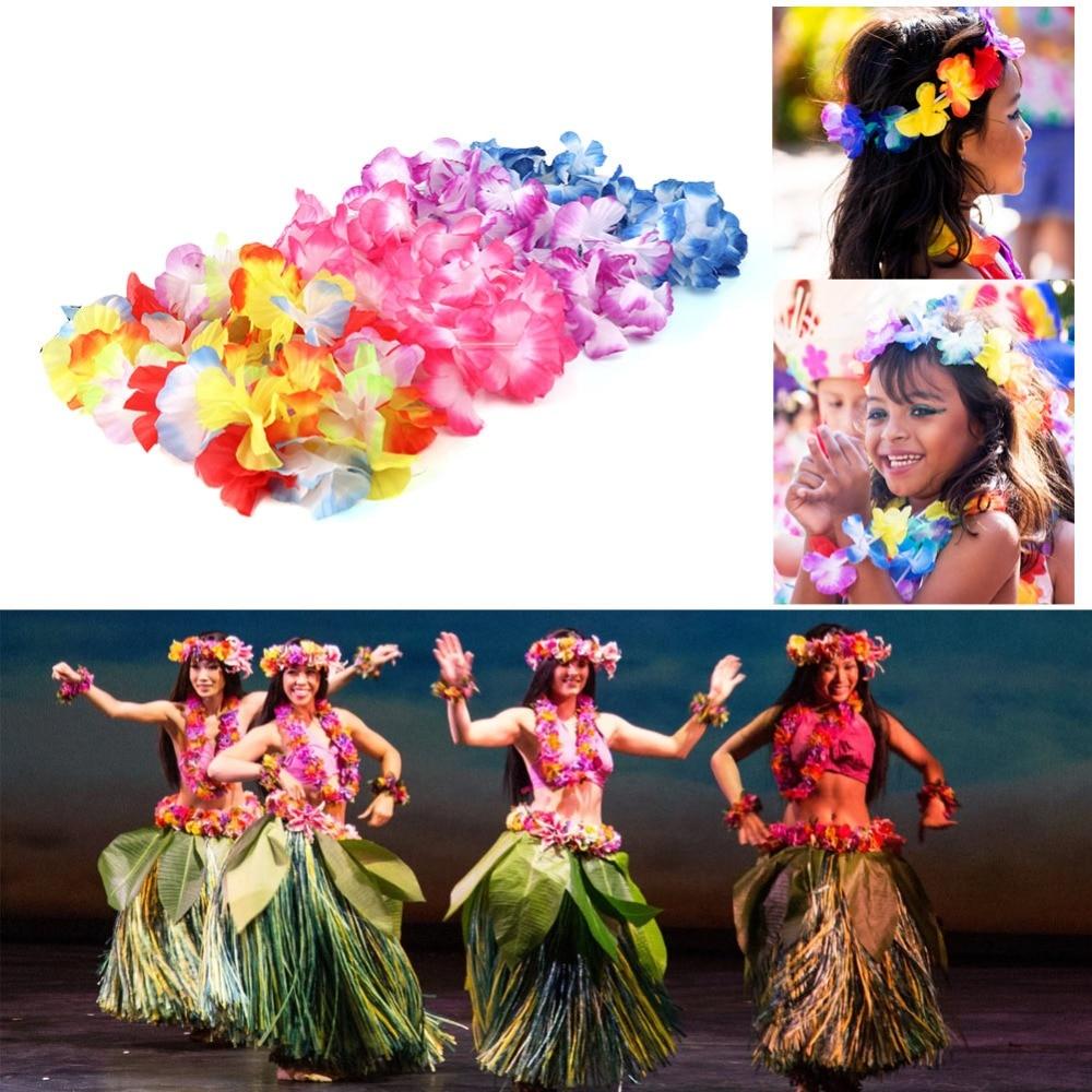 Image 4 - OurWarm 12pcs Hawaiian Party Decorations Hawaiian Flower Necklace Hawaiian Leis 100cm Silk Flower Garlands Door Decoration-in Wreaths & Garlands from Home & Garden