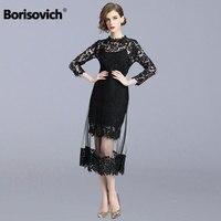 Borisovich Luxury Ladies Evening Party Dress New 2018 Autumn Fashion Hollow Out Black Lace Women Casual Long Dresses M995