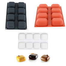 Yiwumart 3D Silicone 8-Cavity Square Gem Design Cake Baking Mold For Mousse Cheese Chocolate Pudding Dessert Decorating Tools