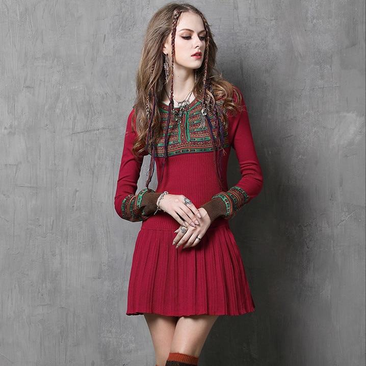 Robe d'hiver 2017 nouvelle marque plissée pull robe Vintage moulante Boho robes à manches longues lanterne Jacquard robes De Festa