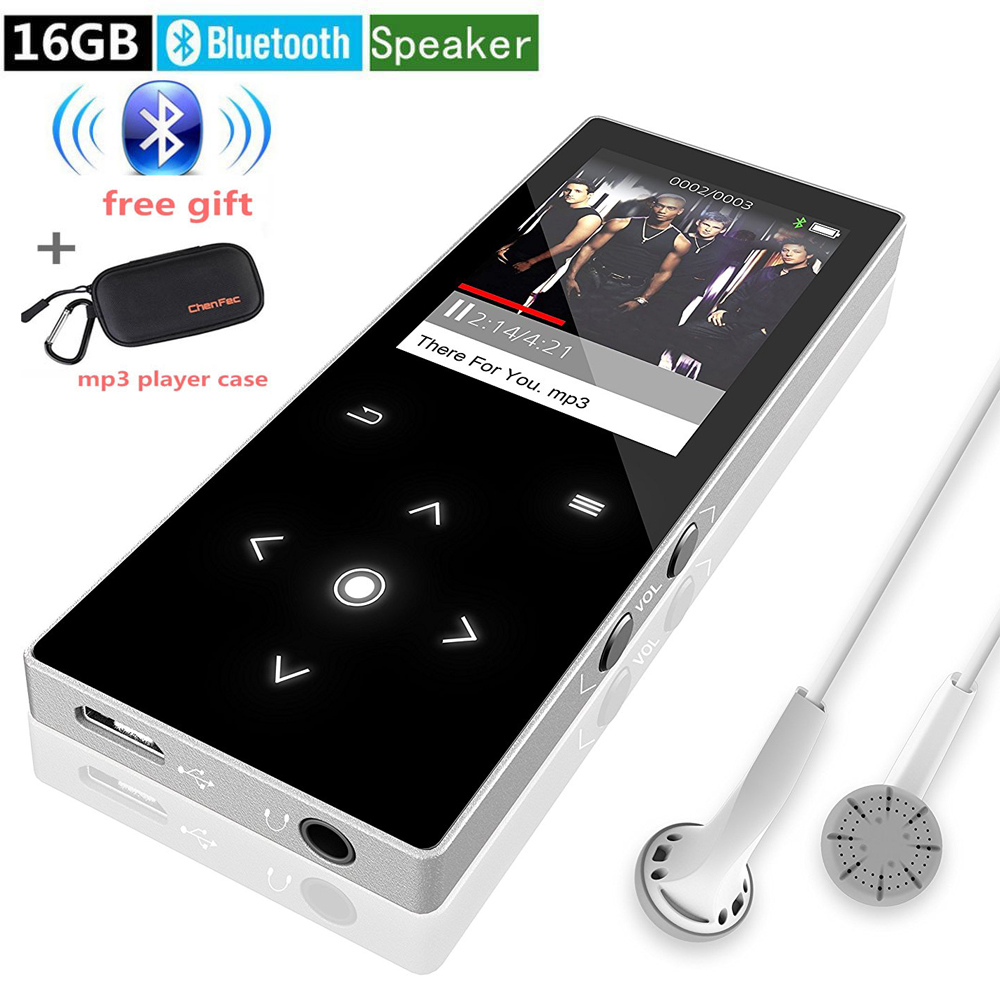 เครื่องเล่นเพลง MP3 ไฮไฟไฮไฟ Bluetooth 16GB บางเฉียบคุณภาพเสียงสูงลำโพงในตัวพร้อมช่องเสียบการ์ด Micro SD + กล่องเครื่องเล่น mp3