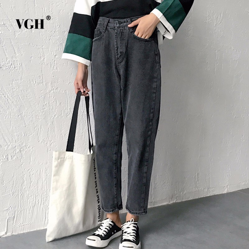 VGH High Waist Loose Denim Harem Pants Women Black Ankle Length Jeans Pants Big Size Female Jean Trousers Casual Clothing summer ripped hole jeans ankle length pants women high waist loose vintage harem denim pants plus size casual blue jeans female