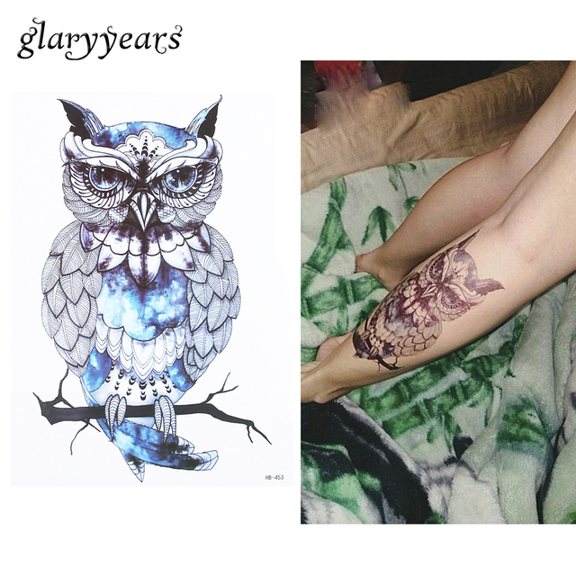 1pc Waterproof Temporary Tattoo For Sexy Women Men Blue Owl Body Shoulder Art Picture Design HB453 Water Transfer Tattoo Sticker