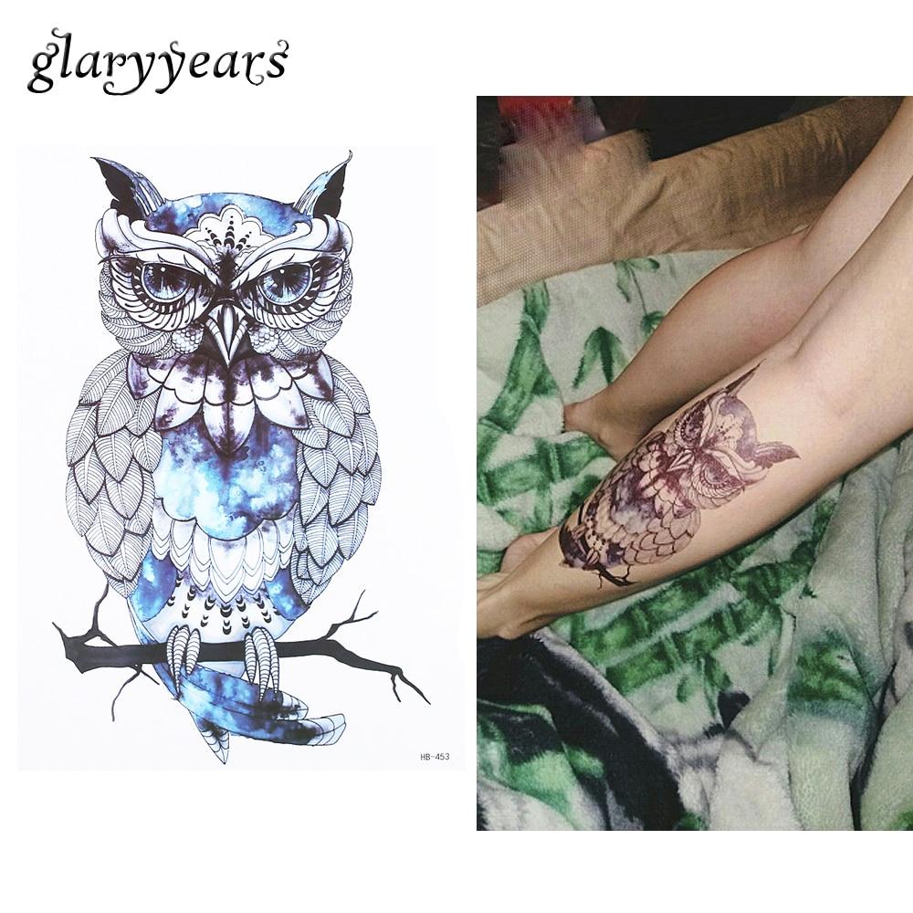 1pc Waterproof Temporary Tattoo For Sexy Women Men Blue Owl Body Shoulder Art Picture Design HB453 Water Transfer Tattoo Sticker