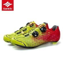 цена 2018 Santic Pro Carbon Fiber Road Bike Cycling Shoes Sneakers Men Self-locking Breathable MTB Bicycle Shoes Non-slip Boots онлайн в 2017 году