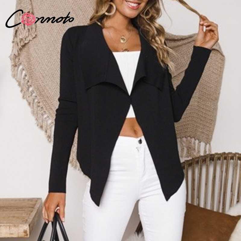 Conmoto דק חולצה נשים מוצק קרדיגן קצר סתיו חורף 2018 חולצה חולצות מקרית נשי חולצות חולצה למעלה Plussize