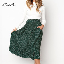 цена на Popular Green Women Skirt Pleated Midi Polka Dot Skirt Pocket Yellow Print Pattern Girl Summer Autumn Skirt eDressU CLX-101082