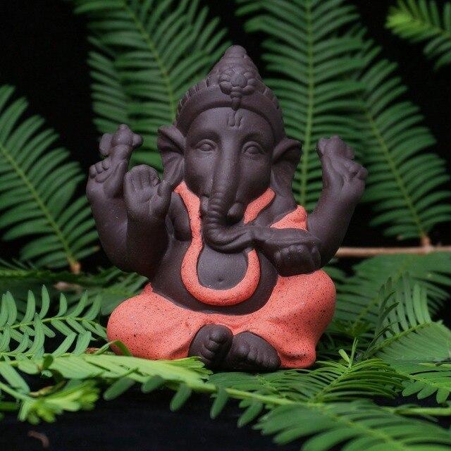 Ceramic Buddha Statues Purple sand Elephant God Figurines Home Decor Ganesha Mascot Decoration Flowerpot landscape Garden 3