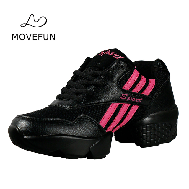 MoveFun New Sneakers Women Morden Dance Shoes Breath Non-slip Sports Shoes for Woman Fitness Jazz Sneaker Black White Female-64