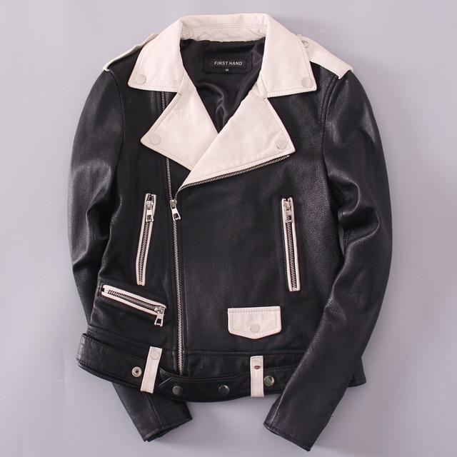 81e6a7163 US $168.0  Aliexpress.com : Buy Genuine Leather jacket women's Motorcycle  clothing lapel slim sheepskin short coat black and white color autumn  winter ...