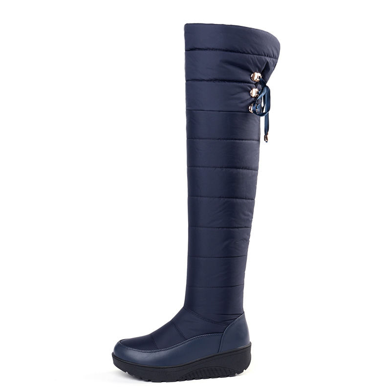 Down Thigh High Snow Boots Women Warm Winter Woman Flat Platform Shoes A312 Fashion Ladies Black Blue Over The Knee Winter Boots-in Over-the-Knee Boots from Shoes    2