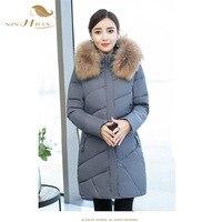 SISHION 2018 Women Winter Hooded Warm Coat Plus Size Black Red Grey Female Long Parkas Jackets Plus Size Women Clothing WC0005