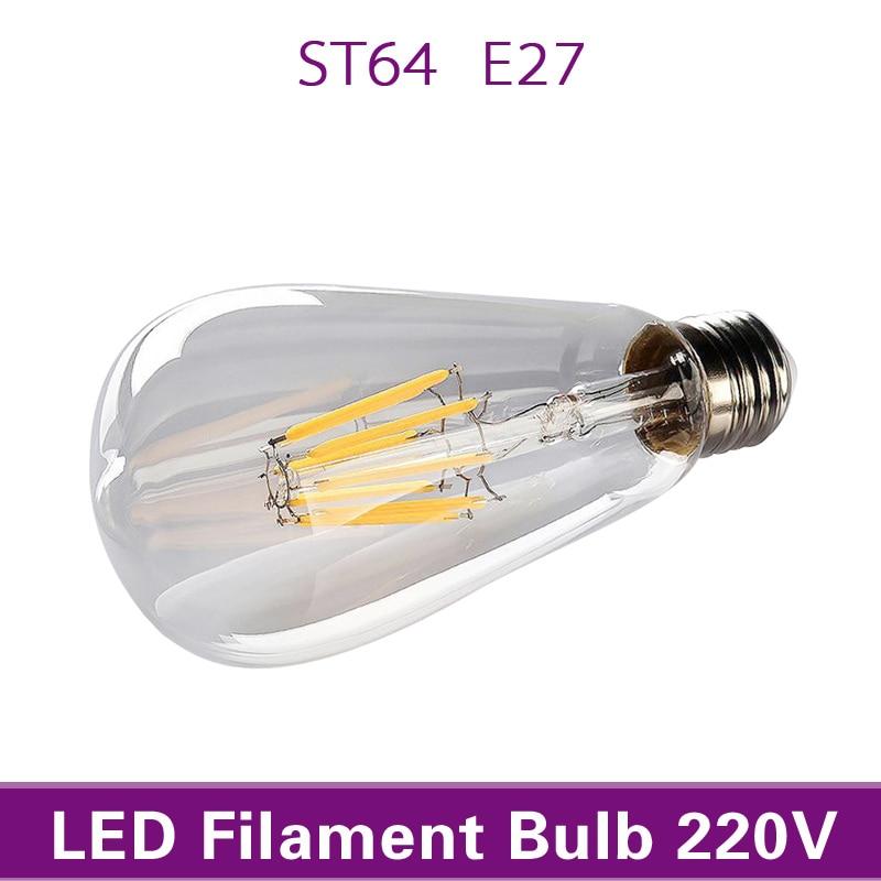Retro LED Filament Light Bulb Dimmable ST64 E27 220V 4W 8W Smart IC Driver No Flicker Low Heat Replace Edison Bulb Warm White
