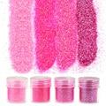 4 Botellas/Set Rosa Polvo Del Arte Del Clavo Herramientas 1 Caja de 10g Lentejuelas Brillo de Uñas de Acrílico UV Gel Polaco brillo de Uñas BG049-052