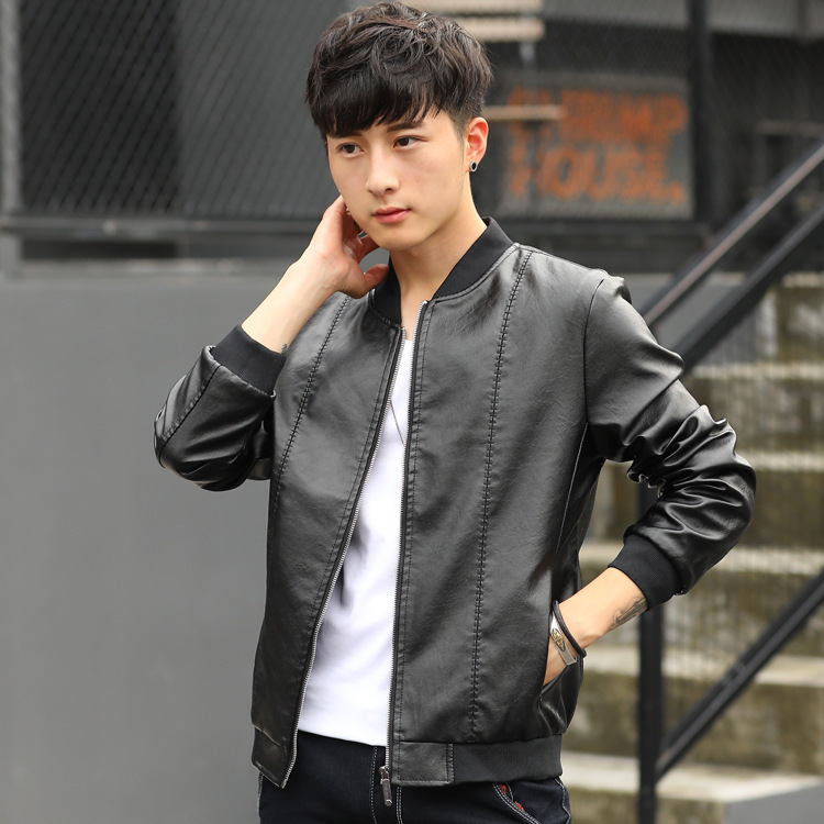 KH Spring and Autumn New Men's Jacket Mens Stand Collar Casual Slim PU Leather Coats Jaqueta de Couro Masculina Plus size M~4XL