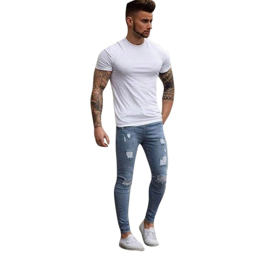snowshine YLI Men's Stretchy Ripped Skinny Biker Jeans Destroyed Taped Slim Fit Denim Pants