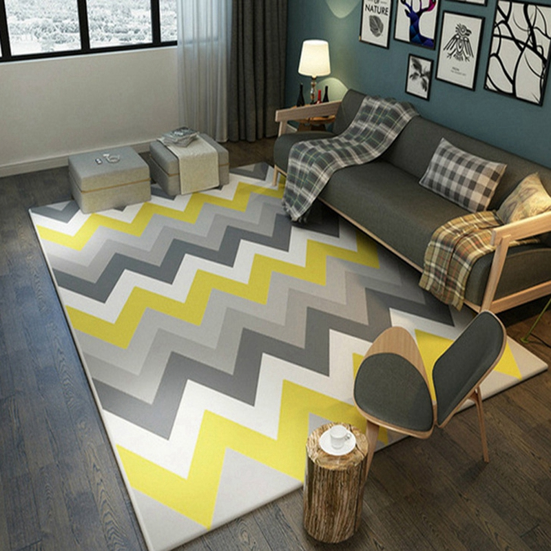 Geometric Pattern Big Carpet Nordic Style Decor Living Room Bedroom Kids Children Play Floor Mats Anti-Slip Tea Table Area Rugs