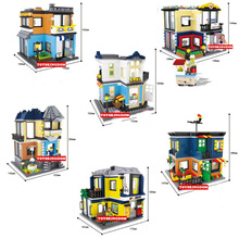 3 changes city mini street view building block fashion store pet fruit shop Tea Restaurant Opera House Billiard room bricks toys(China)