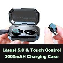 Беспроводные наушники, Bluetooth 5,0 водостойкие 3D стерео звук беспроводные наушники с зарядным чехлом Встроенный микрофон глубокий HiFi B