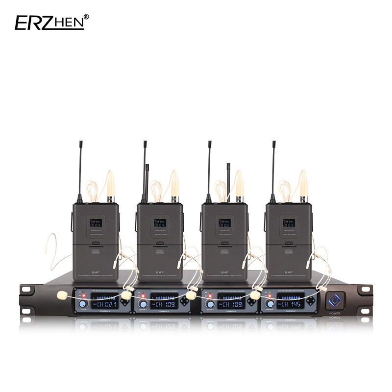 Wireless Microphone 4 Receivers 4 Headphones Professional Microphone 4 Channels Wireless Lapel Transmitter + UHF 4000E цена 2017