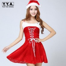 2017 Womens Santa Claus Sexy Christmas Holiday Costume Cosplay Girls Xmas Gift Outfit Fancy Dress Party