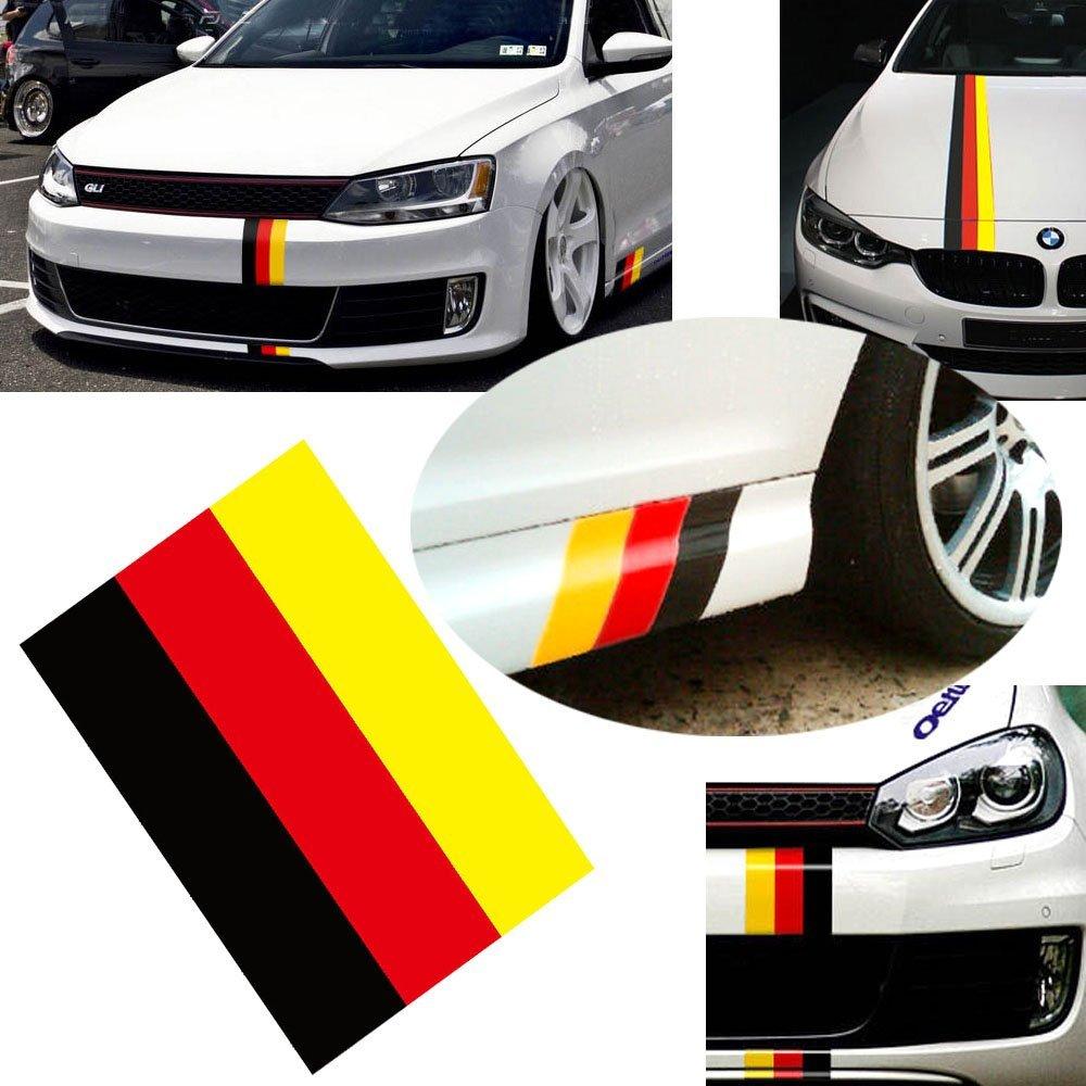 Car body sticker design singapore - Car Styling Racing Stripes Sticker Germany Flag Color Stripe For Bmw Decoration Grille Fender Side