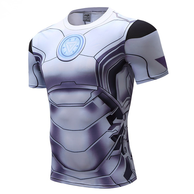 Iron Man High Quality Sportswear 3D T Shirt Men Crossfit Bodybuilding Compression Tights White T-Shirt Breathable Soft Top Tees