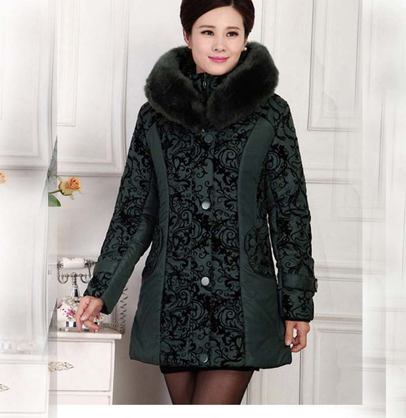 2015 winter middle-aged women long plus size 4XL 5XL thick warm print hooded fur collar cotton padded long jacket coat BL1167