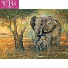 Фотография YTG Full 5D DIY Diamond Painting Elephant Needlework Embroidery Cross Stitch Round Rhinestone Home Decor Crafts Fashion Art