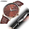 SINOBI Brands Luxury Fashion Mens Watches Slim Genuine Leather Strap Quartz Analog Military Male Wrist Watches for Man Clock