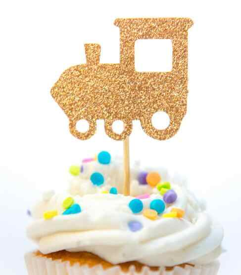 Glitter Taxi Train Tractor Boy Birthday Gender Reveal Cupcake Toppers Christening Wedding Baby Shower Party Doughnut