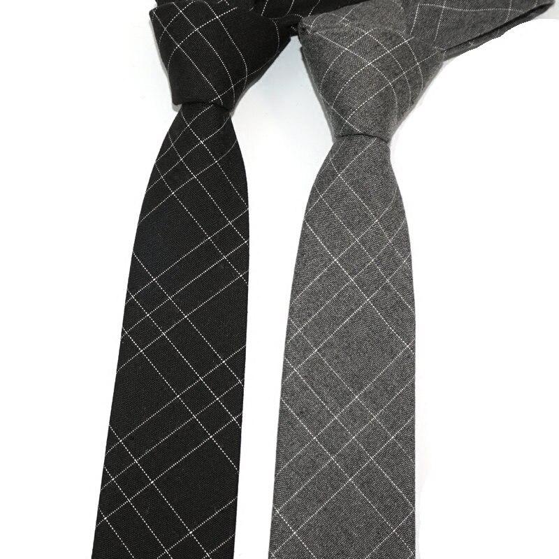 Black Gray Plaid Wool Skinny Tie Slim Male Fashion Designer Necktie for Men 2017 Korean 6cm Narrow Neckwear Cotton Wool Neck Tie