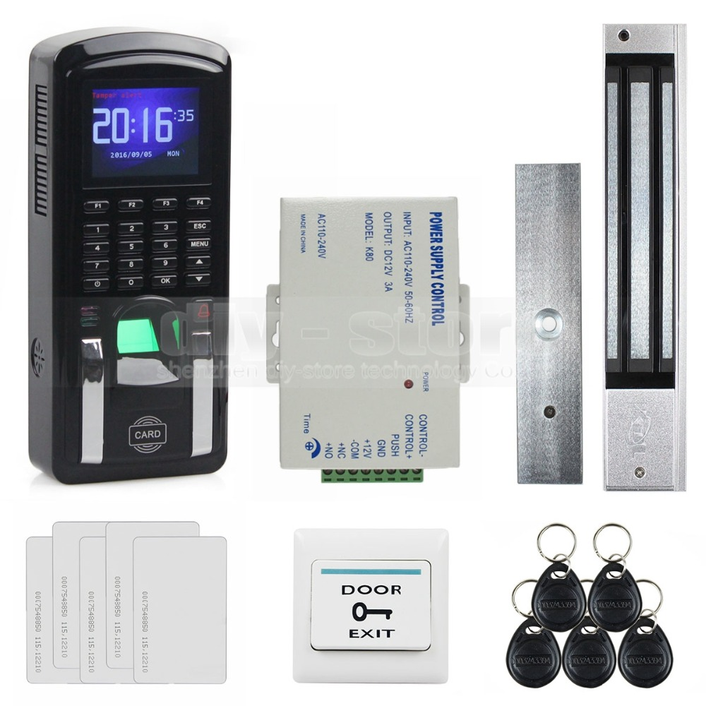 DIYSECUR TCP/IP USB Fingerprint ID Card Reader Password Keypad Door Access Control System + Power Supply + 280kg Magnetic Lock