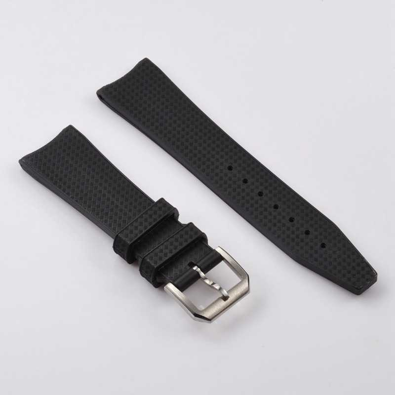 Watch Parts, Debert 22mm Black Rubber Watch Band Pin Buckle Watchbands Fit for Corgeut Debert Parnis Watches SP23