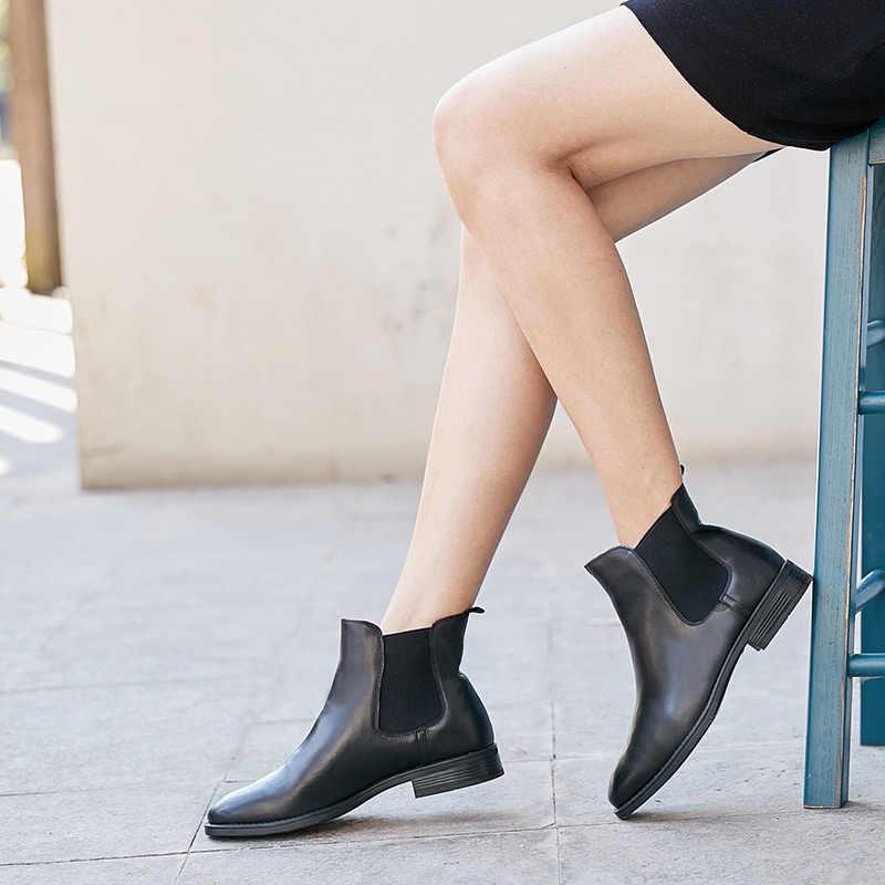BeauToday Chelsea Çizmeler Kadın Marka Hakiki Dana Derisi Deri Artı Boyutu Sonbahar Kış bileğe kadar bot moda ayakkabılar El Yapımı 03025