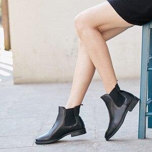 Image 5 - BeauToday تشيلسي أحذية النساء جلد العجل الحقيقي حجم كبير الخريف الشتاء موضة العلامة التجارية حذاء قصير اليدوية 03025