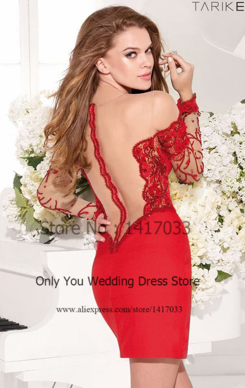 Red Lace Bodycon Short Homecoming Dresses