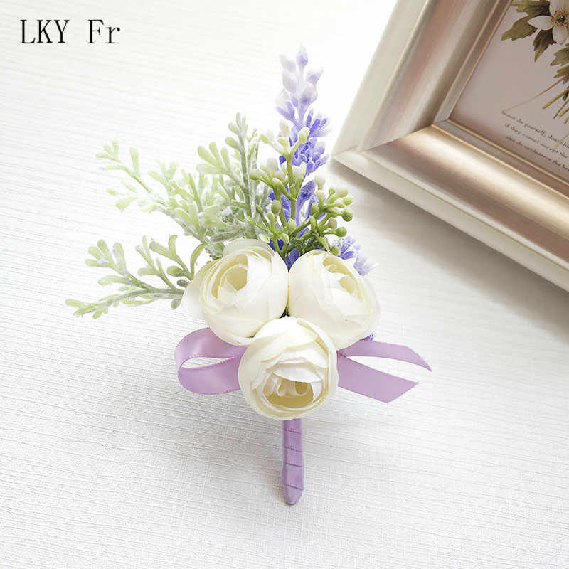 LKY Fr Wedding Boutonniere Pin White Silk Rose Wrist Corsage Bracelet Bridesmaid Flower Groom Brooch Marriage Cuff Wrist Corsage