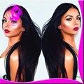 Superior de seda Base de Seda Pelucas Llenas Del Cordón Virginal Peruano Glueless Completo Base de Seda peluca recta Pelucas Del Frente Del Cordón Humano Para Las Mujeres Negras